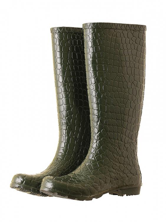 Женские резиновые сапоги крокодиловая кожа.